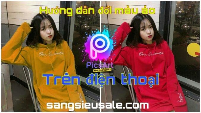 cách đổi màu quần áo và màu tóc trên app picsart sangsieusale hướng dẫn